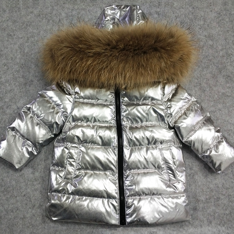 2018 Winter Down Jacket Children Long Silver Clothes Boys Thick Hoodie Big Nature Fur Overcoat Girls 90% White Duck Down Jacket 2017 children winter clothes boys and girls down jacket long 90