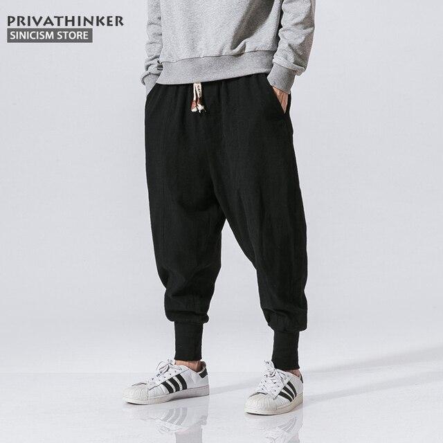 Sincism Store Men Harem Pants Japanese Casual Cotton Linen Trouser Man Jogger Pants Chinese Baggy Pants 3