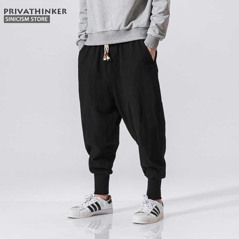f1844e338 Pantalón de algodón de lino informal japonés para tienda de Sinicism  pantalones de harén para hombre Pantalones de Jogger con bandas en el  tobillo ...