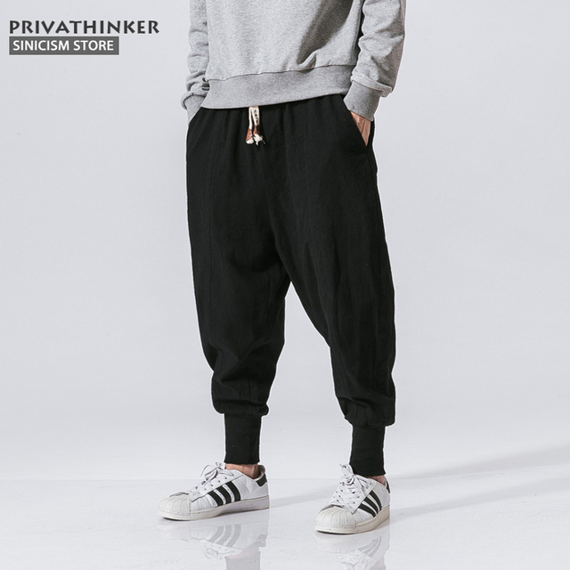 Sincism Store Men Harem Pants Japanese Casual Cotton Linen Trouser Man Jogger Pants Chinese Baggy Pants 23