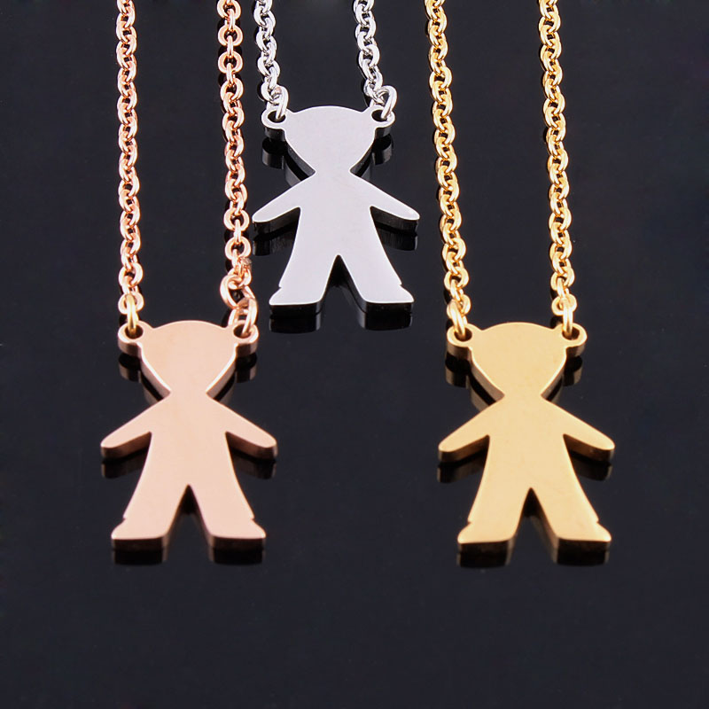 from boy figure charm pendant stainless girl on accessories steel necklace high jewelry little chain polished aliexpress item w in com necklaces