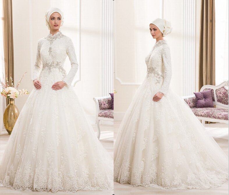 Vestido De Noiva Long Sleeve Lace Bridal Gown Ivory Applique Luxury Crystal Ball Gown Muslim Party Mother Of The Bride Dresses