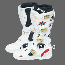 Motorcycle Boots Pro biker SPEED Bikers Motocross Leather cycling motocross Long white knee-high Shoes  BPB04 SW-STAR CO HONOR
