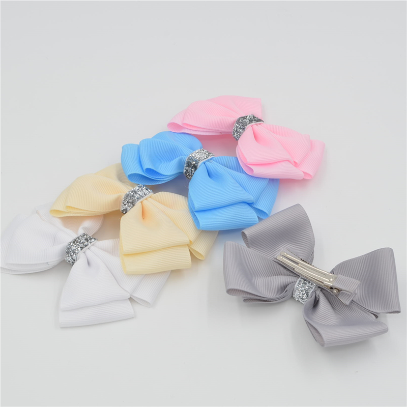 Handmade Ribbon barrettes Clips Boutique girl women Shining s