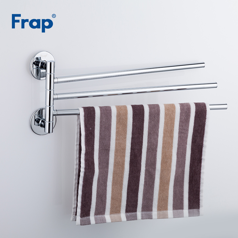Frap Silver Wall Viscose Mounted Stainless Steel Double Towel Bars Bathroom Towel Hanger Bathroom Accessories Towel Rack F3813