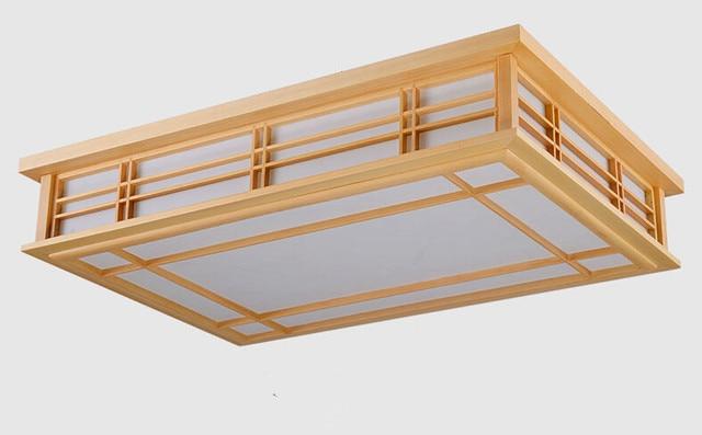 Japanese Wood Ceiling Lights Rectangle LED Lamp Light Bedroom Home ...