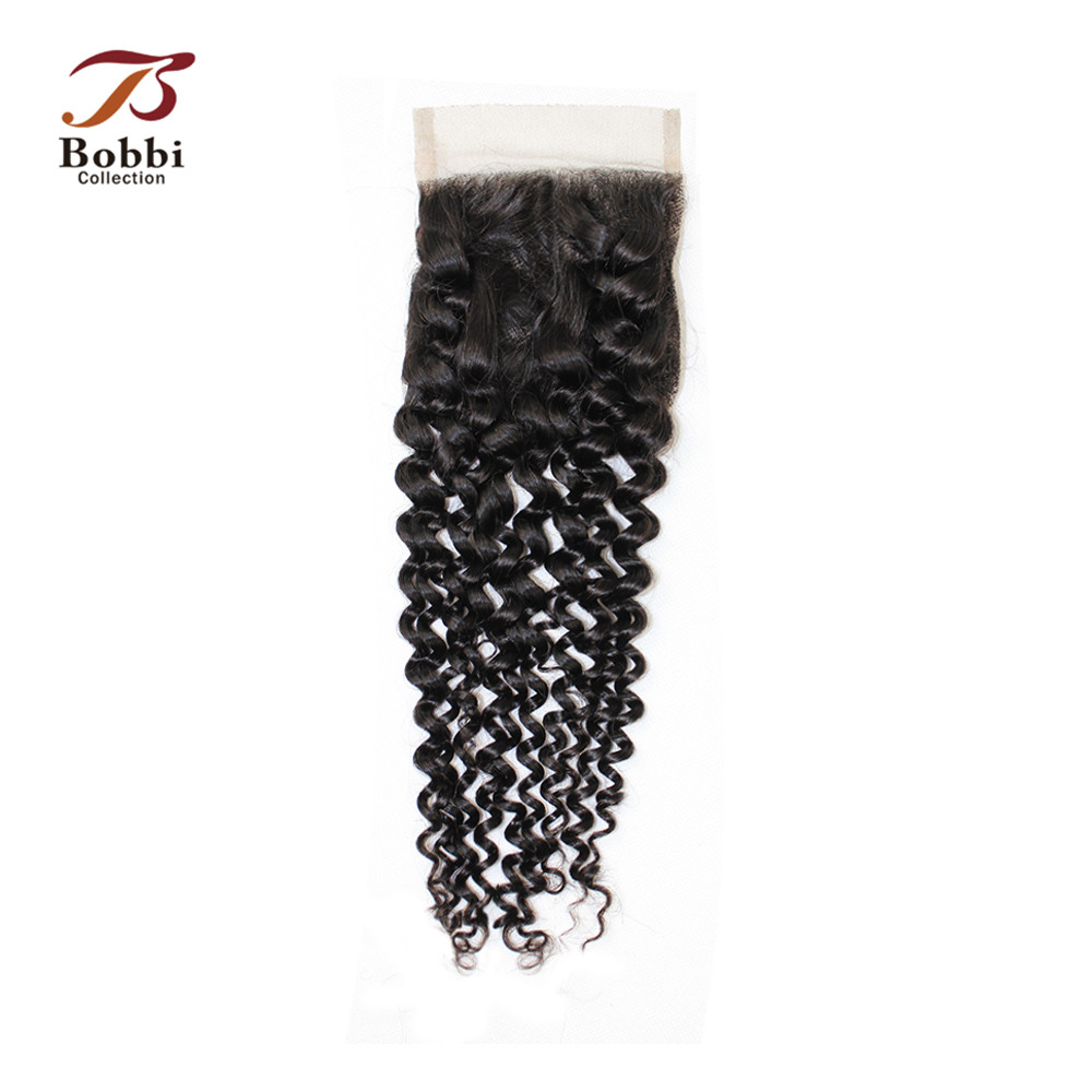 BOBBI COLLECTION Jerry Curly Lace Closure Brazilian Remy Human Hair Natural Color 4x4 Lace Closure Free Middle Part