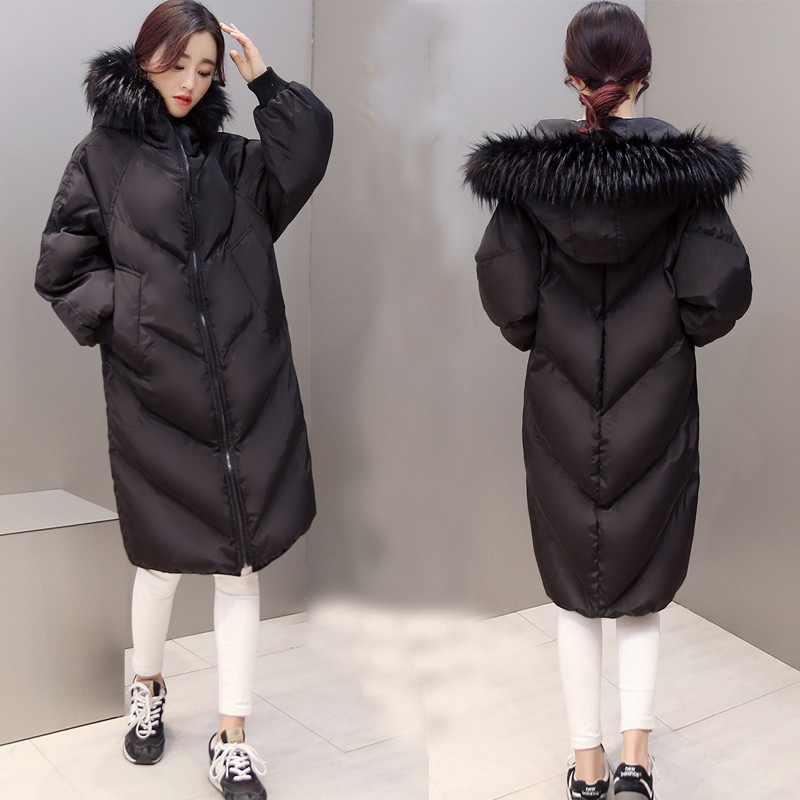 Oversized Coats Thick Winter Jacket Women Hooded Fur Collar Casual Cotton Coat Long Jacket Female Parkas Mujer Maxi Coats C2548 jolintsai winter jacket women mid long hooded parkas mujer thick cotton padded coats casual slim winter coat women