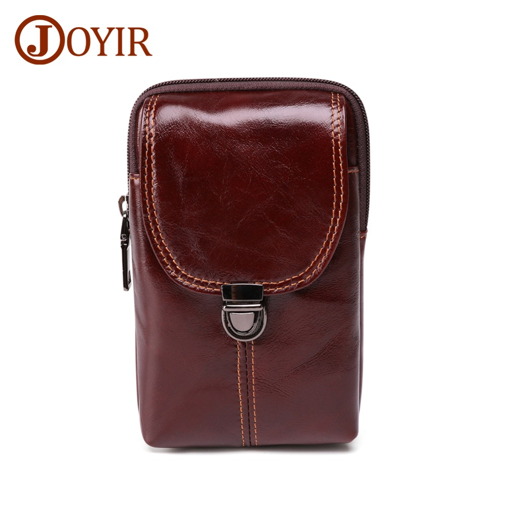 JOYIR New Design Genuine Leather Men Fanny Pack Red-brown Waist Retro Mens Belt Bag Casual Travel Male Small