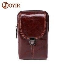 JOYIR New Design Genuine Leather Men Fanny Pack Red-brown Waist Retro Mens Belt Bag Casual Travel Male Small