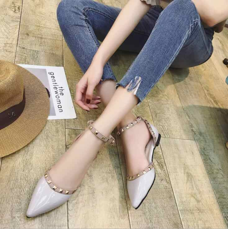 bfbb0384cc ... EFFGT 2019 Women Flats Shoes Pointed Toe Shallow Rivet Patent Leather  Gladiator Sexy Women Ballet Flat ...