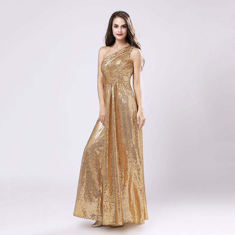 One Shoulder Gold Sequin Bridesmaid Dresses Cheap A Line Maid of Honor Dress Women Plus Size Long Pageant Party Gowns OS421 3
