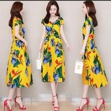 Summer Eleagnt Work Vestido Women Round Neck Vintage Floral Printed Pocket cotton silk dress Long Dress plus size S-6XL