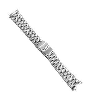 Image 3 - Rolamy 20 22mm srebrny Hollow zakrzywiony koniec solidne ogniwa wymiana Watch Band bransoletka z paskiem podwójne zapięcie Push dla Seiko
