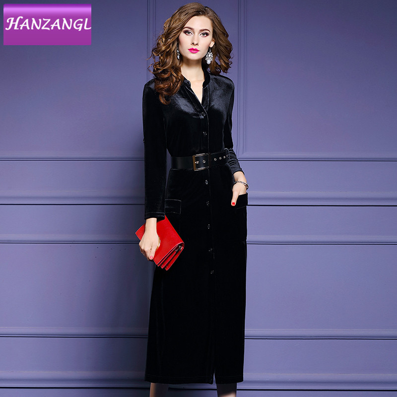 HANZANGL spring autumn Vintage velvet temperament dress female Single breasted Sashes Waist A Line dresses S