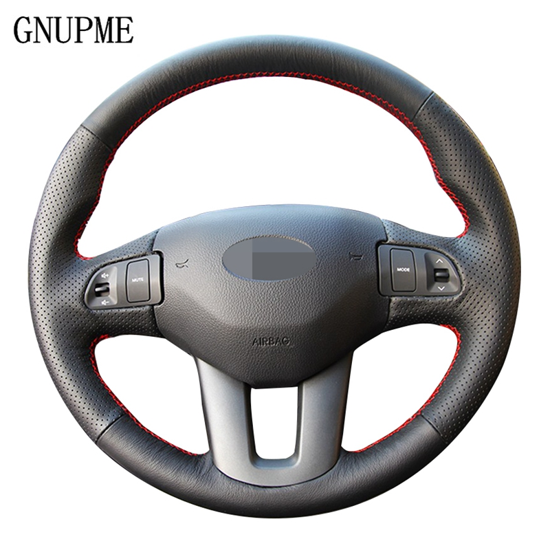 GNUPME Black DIY Hand stitched Soft Artificial Leather Car Steering Wheel Cover for Kia Sportage 3