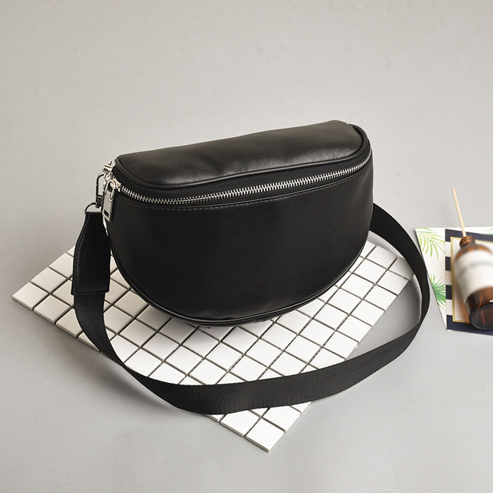 Women Bags Black Color Chest Handbag Shell Leather Messenger  Female Belt Bag Waist Packs Chest Phone Pouch Shoulder Bag Unisex