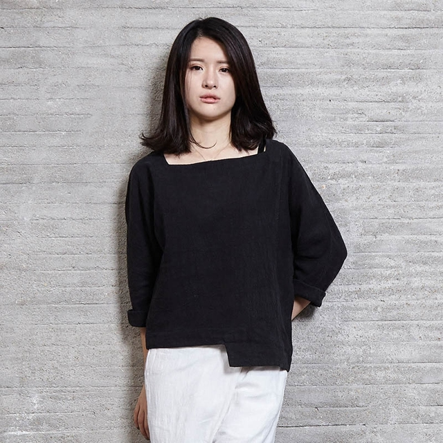 Women Casual Shirt Solid White Black Square Collar Loose 100% Linen Tops Chinese Japanese Traditional Style Nakali F2045