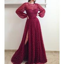 Luxury Burgundy Long Sleeve Arabic Evening Dress 2019 High Split Pearls Formal Muslim Dresses Turkish Gowns Kaftan