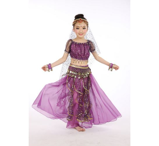 6 colors 5 pcs red rosy yellow Indian Dancing Performance Belly Dance Costume kid Child Clothing Girl Children Stage Tulle Dress