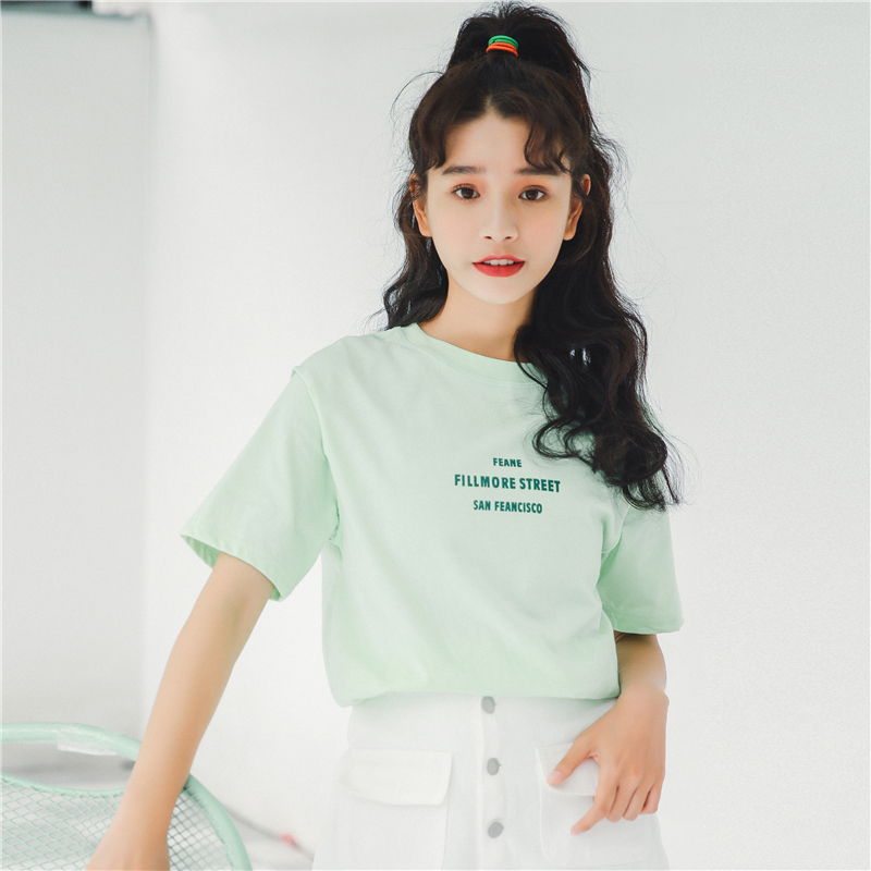 Korean Ulzzang Short Sleeve Letter Printed Loose T Shirt