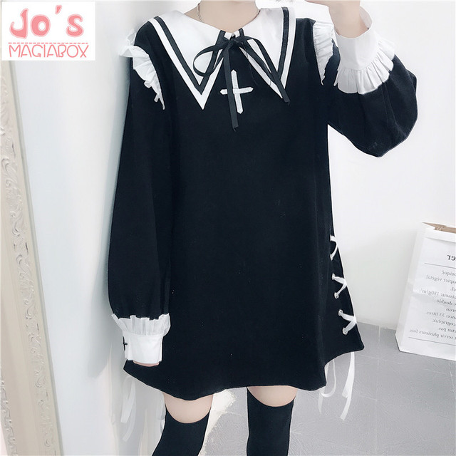 aefc4b583b8f Women Sexy Gothic Lolita Dress Kawaii Halloween Party Christmas Uniform  Dress Sweet Cute Night Wear Vestidos Black