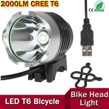 2000 Lumen CREE XML T6 LED Front Bike Light Bicycle Lamp Aluminum alloy for Cycling with 3 Modes for USB powerd ZK92