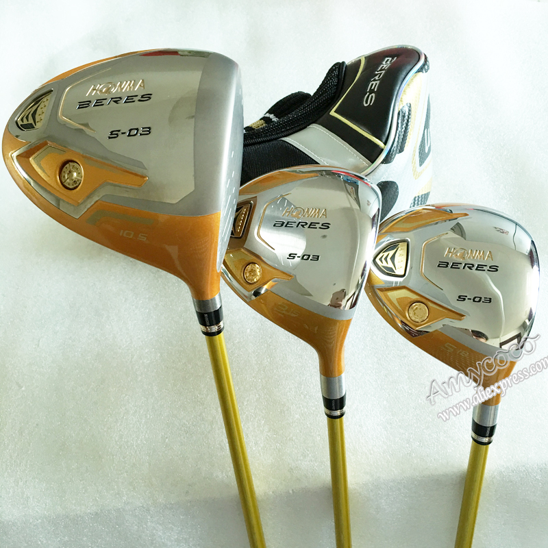 Cooyute New Golf Clubs HONMA S-03 4Star Golf wood Set 1.3.5.wood HONMA Golf Graphite shaft Clubs wood headcover Free shipping