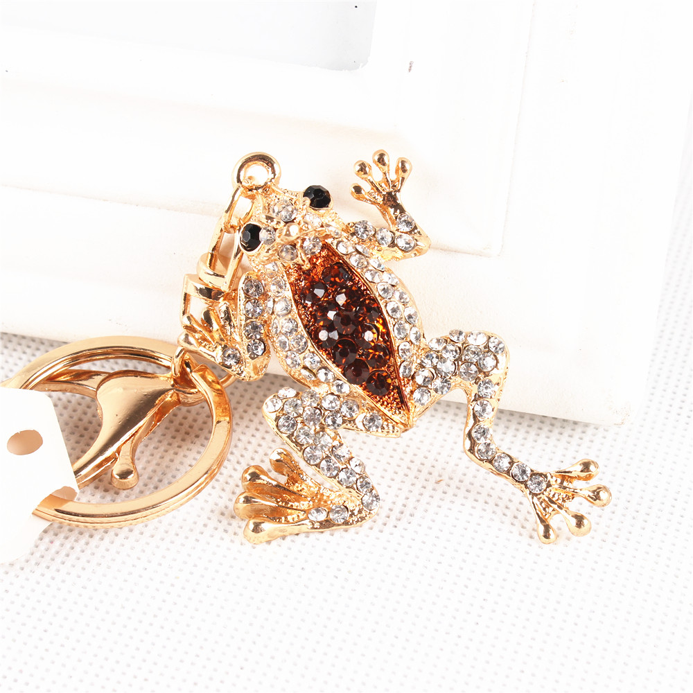 Cute Frog Crown Lovely Charm New Arrival Crystal Rhinestone Pendant Purse Bag Key Ring Chain Creative Birthday Best Gift