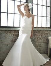 2014 satin mermaid features flattering pleating straps intricate micro-beaded keyhole back bridal gown plus size wedding dresses