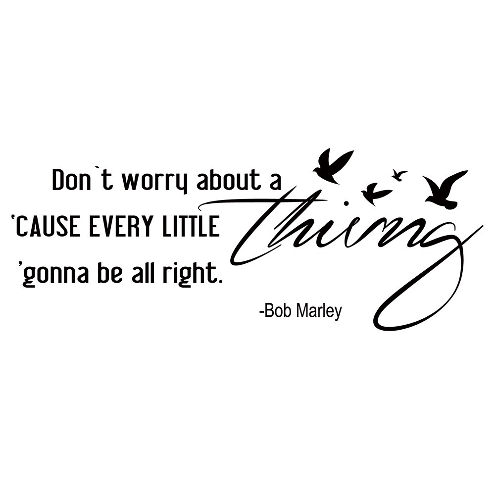 Dont worry about a thing bob marley song lyrics quote wall dont worry about a thing bob marley song lyrics quote wall stickers home decor for housewares vinyl wall decal 18 x46 in wall stickers from home garden hexwebz Gallery