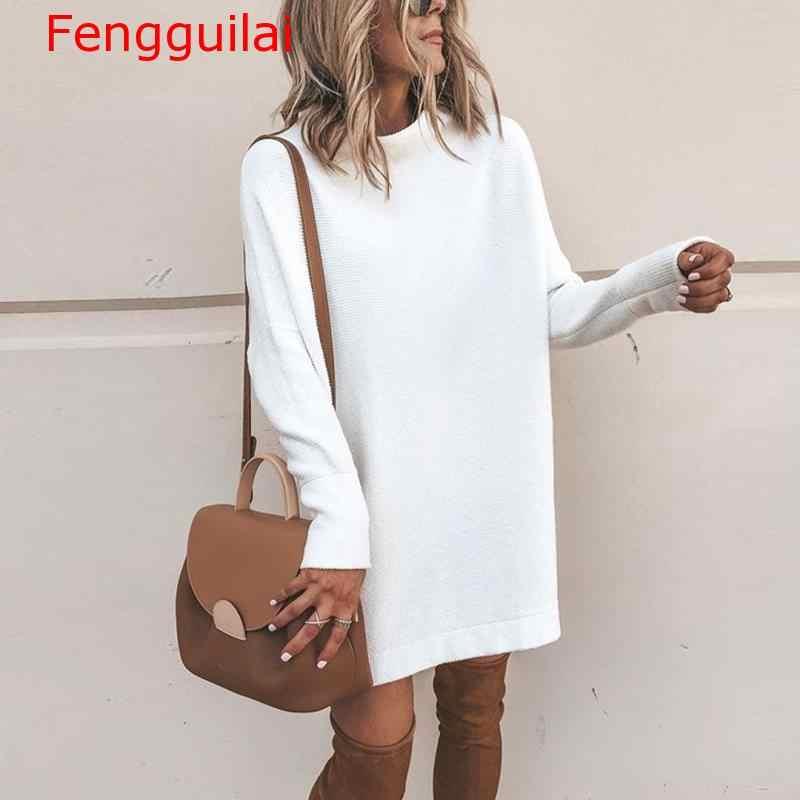 Fengguilai осень водолазка твердые трикотажные свитера платье для женщин длинный рукав тонкие уличные пуловеры негабаритный свитер Pull