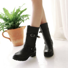 Big size 34-43 New Round  Toe Buckle Boots for Women Sexy Ankle Boots Heels Fashion Winter  Spring  Autumn Shoes Casual  733-2