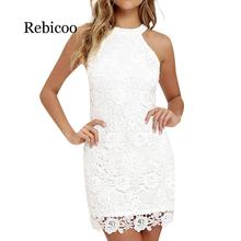 2019 new arrival dress Sexy Women casual solid Lace Elegant Halter Collar sleeveless Party Dress Slim soft touch dresses summer