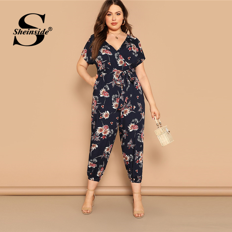 Sheinside Plus Size Boho V Neck Floral Print Wrap Jumpsuit Women Short Sleeve Jumpsuits 2019 Spring Casual Belted Jumpsuit