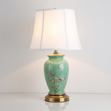 American Country Green Ceramic Fabric E27 Dimmer Table Lamp For Living Room Bedroom Study H 58cm 1483