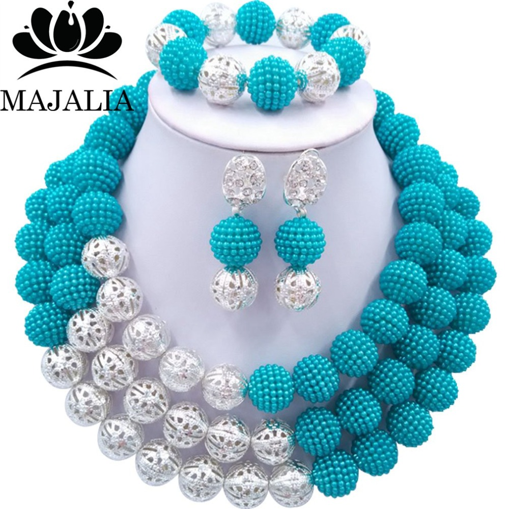 Majalia Fashion Nigerian Wedding African Jewelery Set Blue Crystal Plastic Pearl Necklace Bride Jewelry Sets 3SQ002