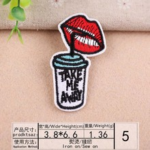DOUBLEHEE Size 3.8cm*6.6cm Drink Patch Embroidered Patches For Clothing Iron On Close Shoes Bags Badges Embroidery