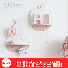 Miz Home Apple Pear Shape Shelf With Hook Lovely Decoration Storage Board Wall Decor for Living Room