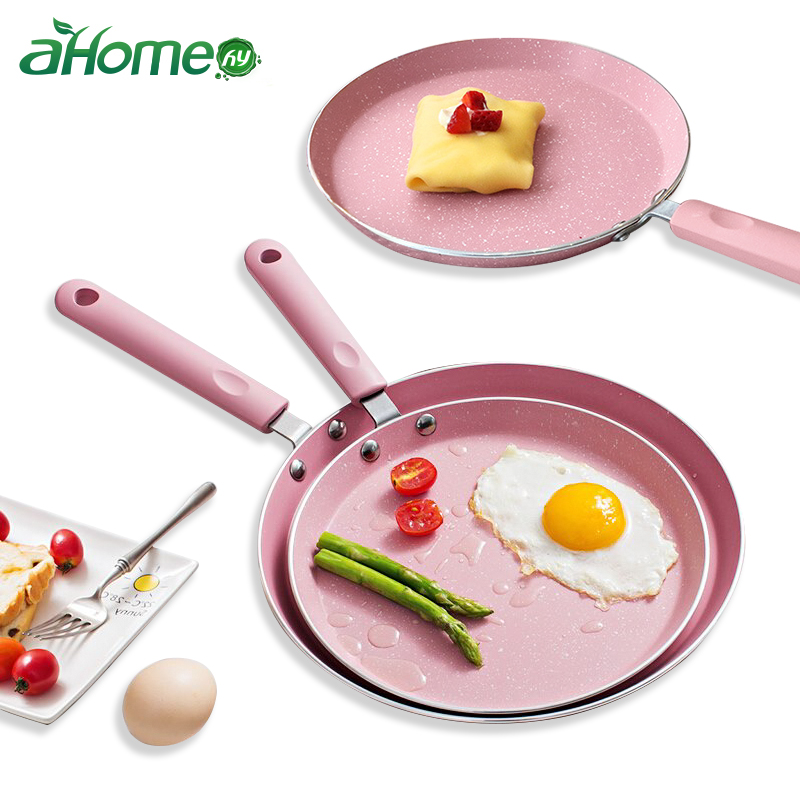 10 /8 Inch Breakfast Cake Pot Pizza Plate Fried Egg Non-stick Baking Pot Omelet Pans Frying Pan Japanese Style Pink Cookware Pan