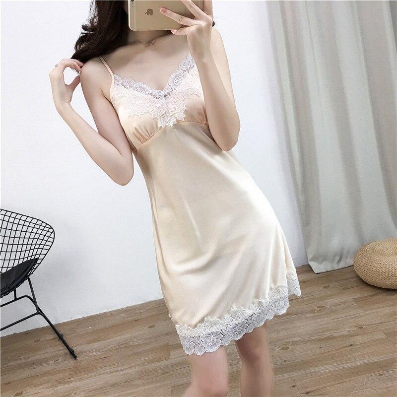 Champagne Female Spaghetti Strap Nightdress Sleepshirt Summer New Suspender Skirt Sleepwear Nightie Casual Bathrobe Negligee