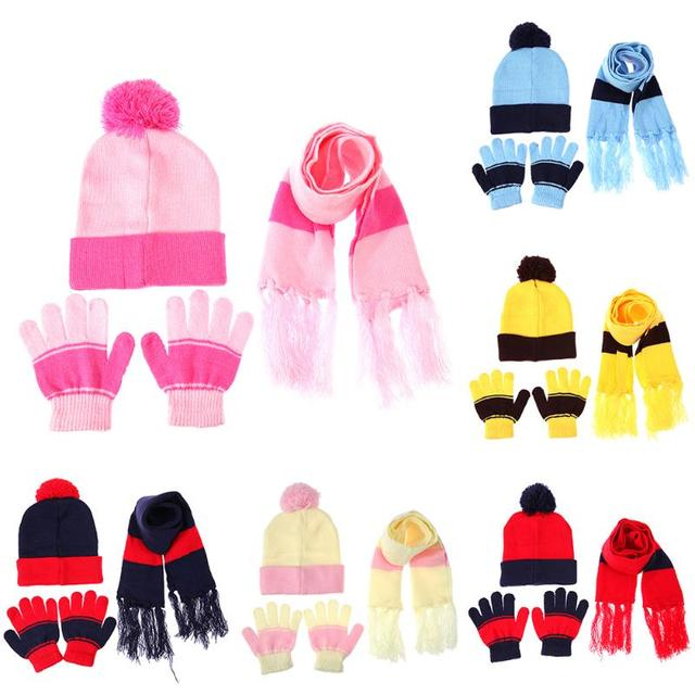 9412360bc9627 3pcs Set Children Hat Scarf Gloves Set Warm Autumn Winter Fashion Kids Baby  Warm Knitted
