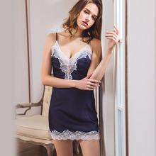 Daeyard Women Sleepshirt Silk Nightgown Sexy Lace Trimmed Nightdress 2019 Summer New V-Neck Short Dress Sleepwear Home Clothes