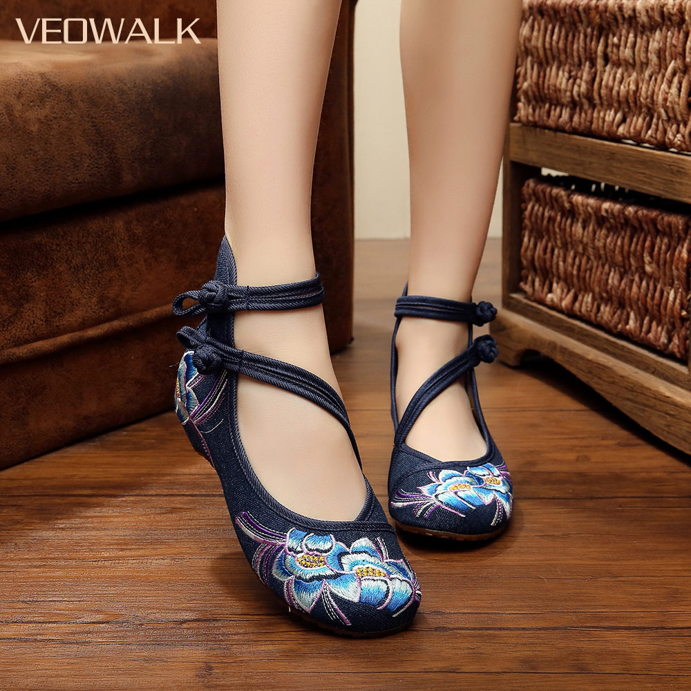Veowalk Handmade Spring Floral Embroidered Women Canvas Ballet Flats High Top Ankle Strap Vintage Ladies Denim Casual Shoes