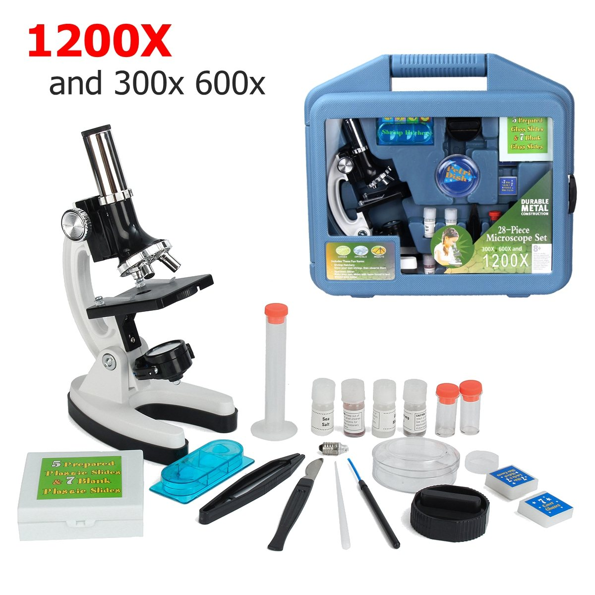 300X 600X 1200X Microscope Kit Magnification Case Kids 28-P iece Beginners Monocular Biol ogical For Children Education Toy dhl free shipping top quality 900x microscope with 28 piece kit alloy material for students kids education