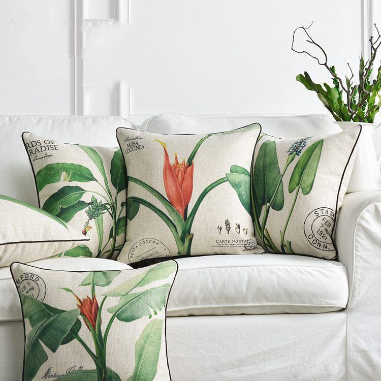 housse de coussin motif végétal