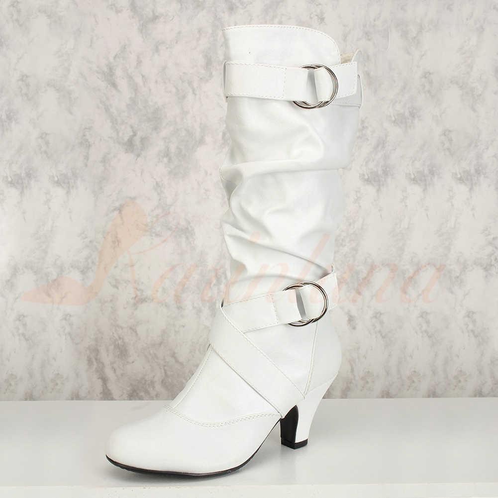 Karinluna/2019 г. Большой размер 34-43, Прямая поставка, модные сапоги до середины икры без шнуровки, женская обувь, осенне-зимние женские сапоги на высоком каблуке