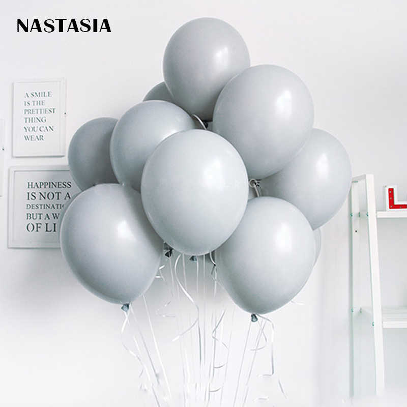 NASTASIA Small fresh gray balloon Thicken 10 inch 2.2g 30pcs/lot birthday decoration adult balloon mariage wedding party supplie