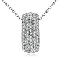 Vintage Bijoux Trendy Silver Plated Fashion Jewelry Round Design AAA CZ Diamond Pendant Necklace For Women