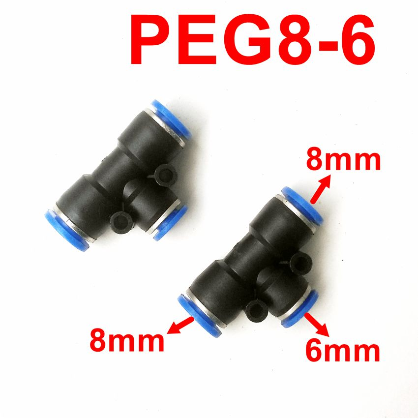 10pcs/lot T Union Tee Reducer 8mm To 6mm Tube Fitting PEG8-6 T shape Pneumatic Pipe Fitting pg4 6 4 8 6 8 6 10 8 10 8 12 10 12mm straight union reducer fitting pneumatic push to connect air
